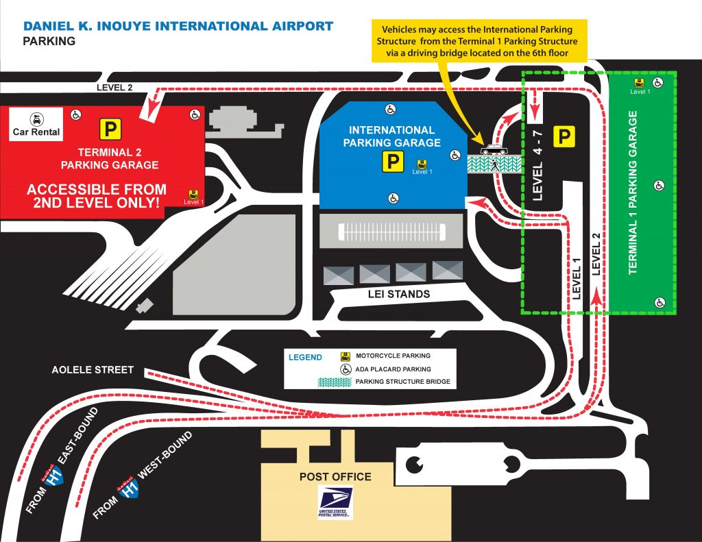 honolulu airport departures map Daniel K Inouye International Airport Parking honolulu airport departures map