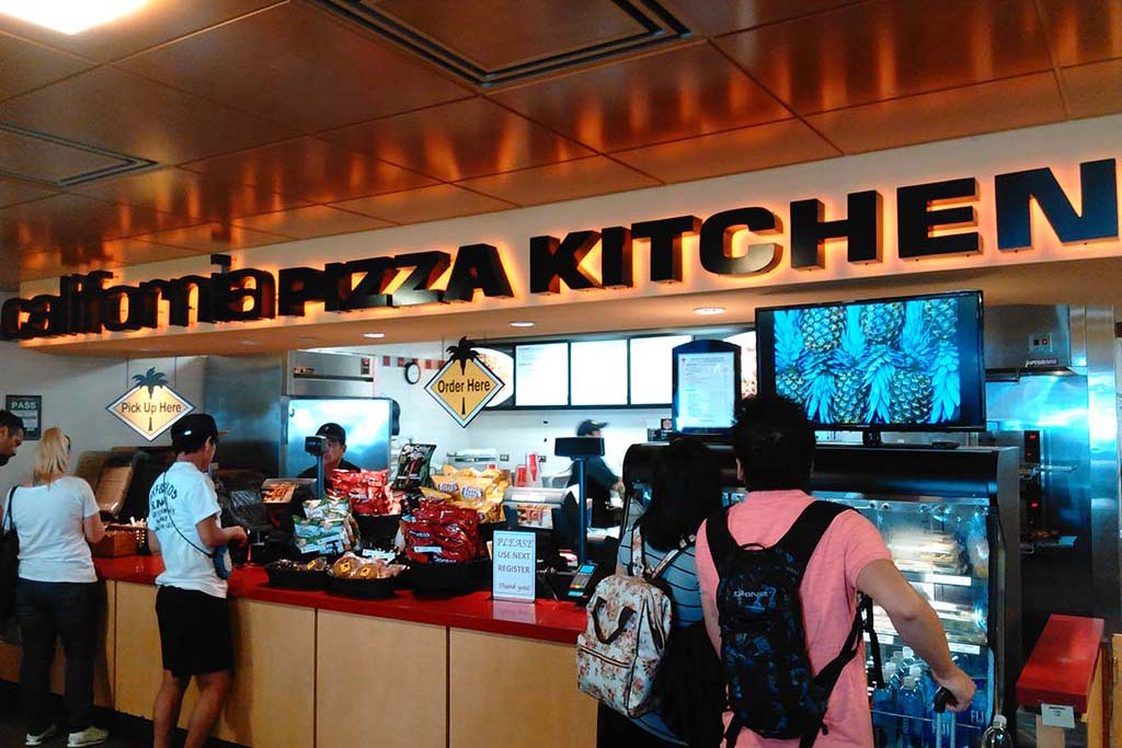 California Pizza Kitchen offers a selection of pizzas, salads and breadsticks. Open daily 8 a.m. to 10 p.m.