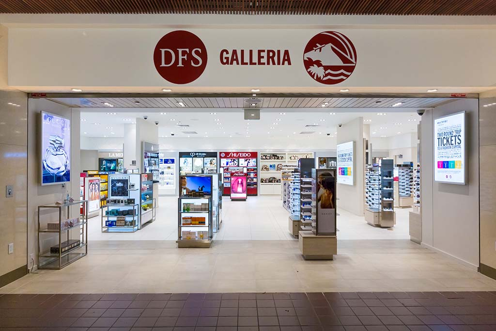 DFS Galleria Sunglasses and cosmetics.  Open daily 7:00 a.m. – 4:00 p.m.