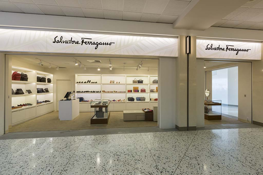 Salvatore Ferragamo Specializing in shoes, leather goods, and ready-to-wear for men and women.  Open daily 7:00 a.m. – 3:30 p.m.