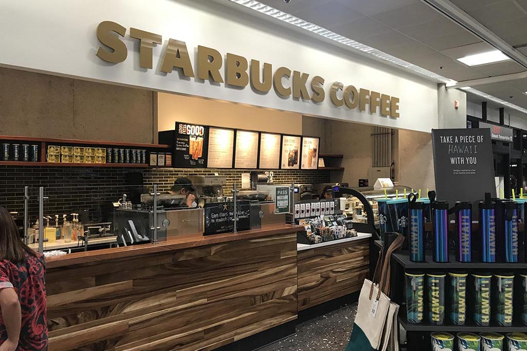 Starbucks Coffee More Than Coffee. Starbucks also offers a selection of premium teas, fine pastries and other delectable treats to please the taste buds.  Open daily 5:30 a.m. – 7:30 p.m.