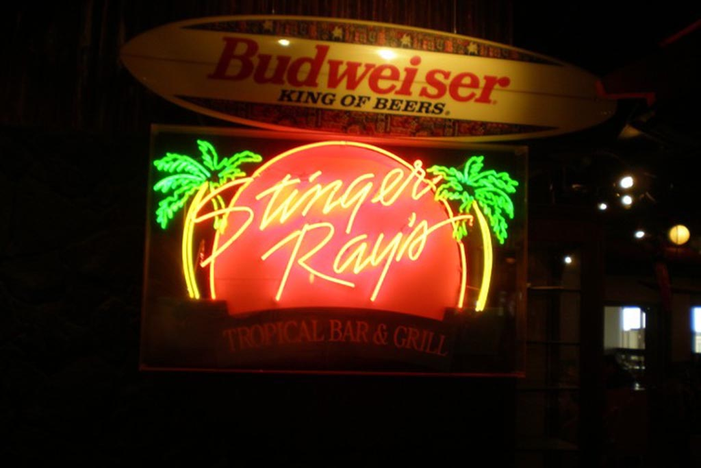 Stinger Ray's Tropical Bar & Grill An oasis of tropical delight, named for our hero, Ray, where weary travelers can stay a while, relax and enjoy the camaraderie of fellow wanderers.  Open daily 6:00 a.m. – 8:00 p.m.