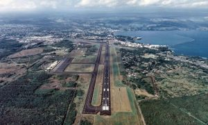 Aerial view of one Hilo International Airport Runway
