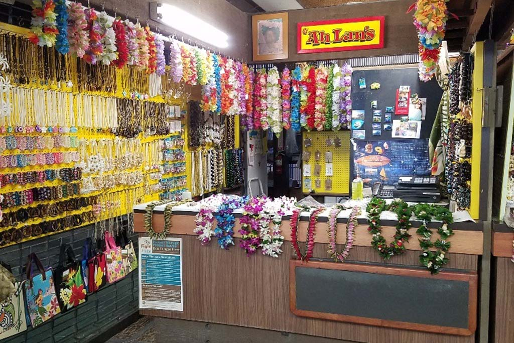 Manufacturing of leis and jewelry.  Open 8:00 a.m. – 6:00 p.m. (Mon-Fri)  8:00 a.m. – 5:00 p.m. (Sat)  8:00 a.m. – 12:00 p.m. (Sun)