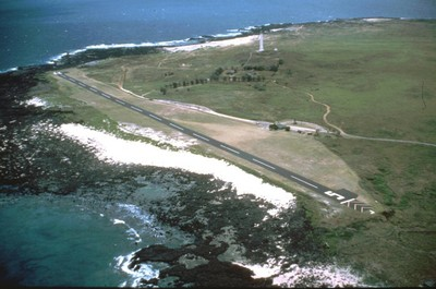 Aerial view of Kalaupapa in 1987