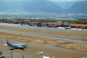 Kahului Airport is located three miles east of the town of Kahului.